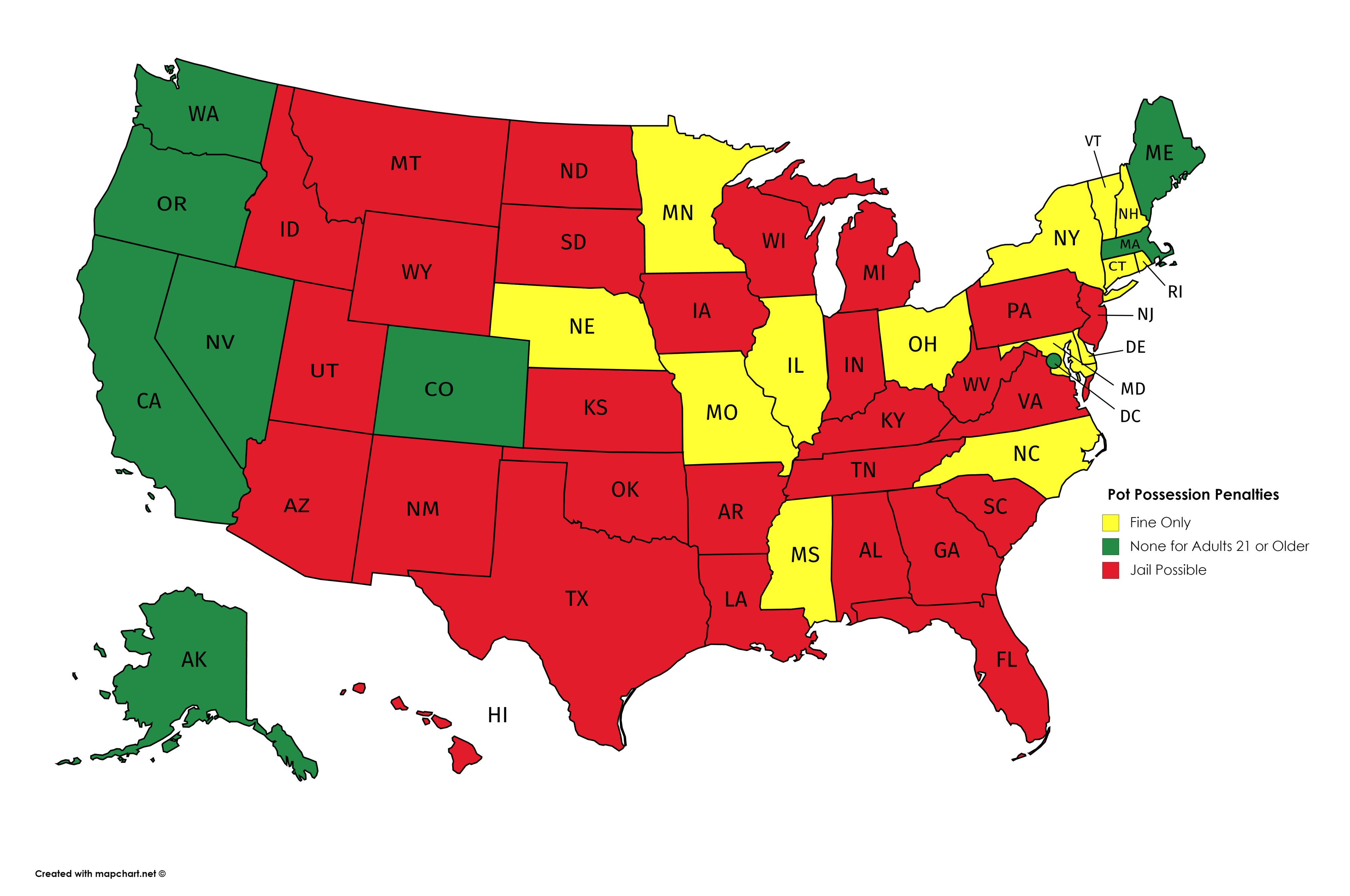 The 28 States Where a Little Pot Can Still Send You to Jail ...