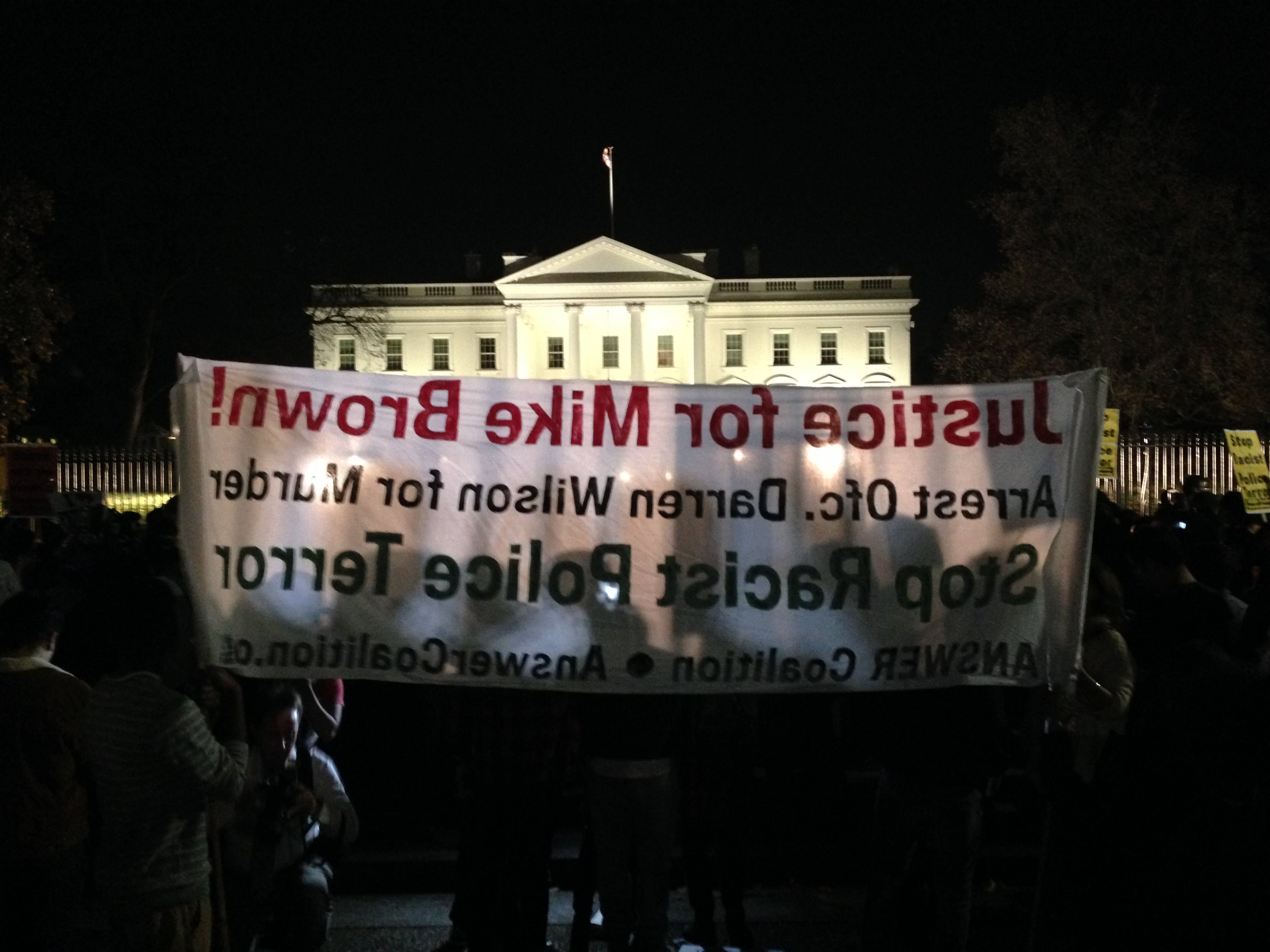White House protesters after Ferguson decision.
