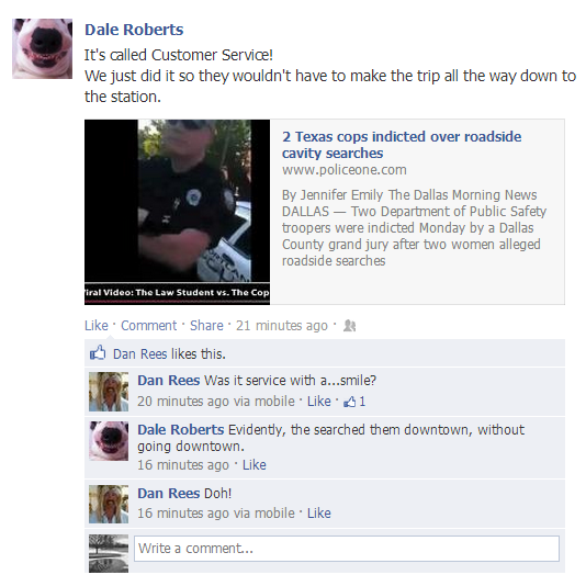 Police Union Director Jokes on Facebook About Two Women Being Sexually Assaulted by a Police Officer
