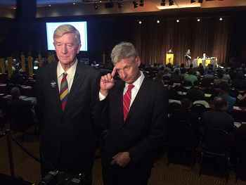 Bill Weld and Gary Johnson at the 2016 Libertarian Party National convention ||| Matt Welch