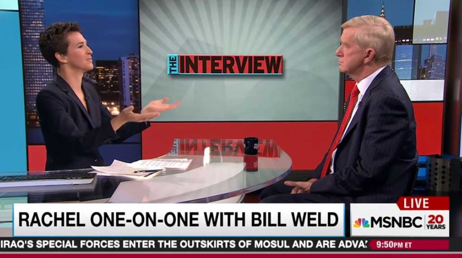 Bill Weld vouching for Hillary Clinton one week before running against her. ||| MSNBC