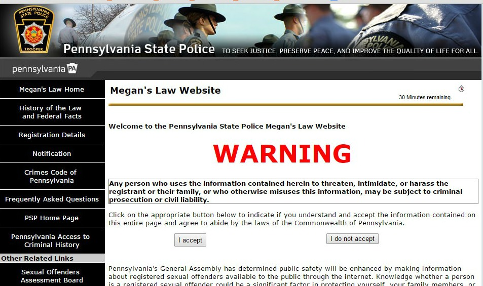 Pa sex offender web site