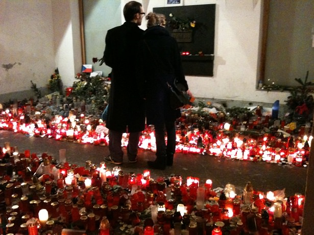 This is the Nov. 17 memorial on Narodni street. There was never nobody there.