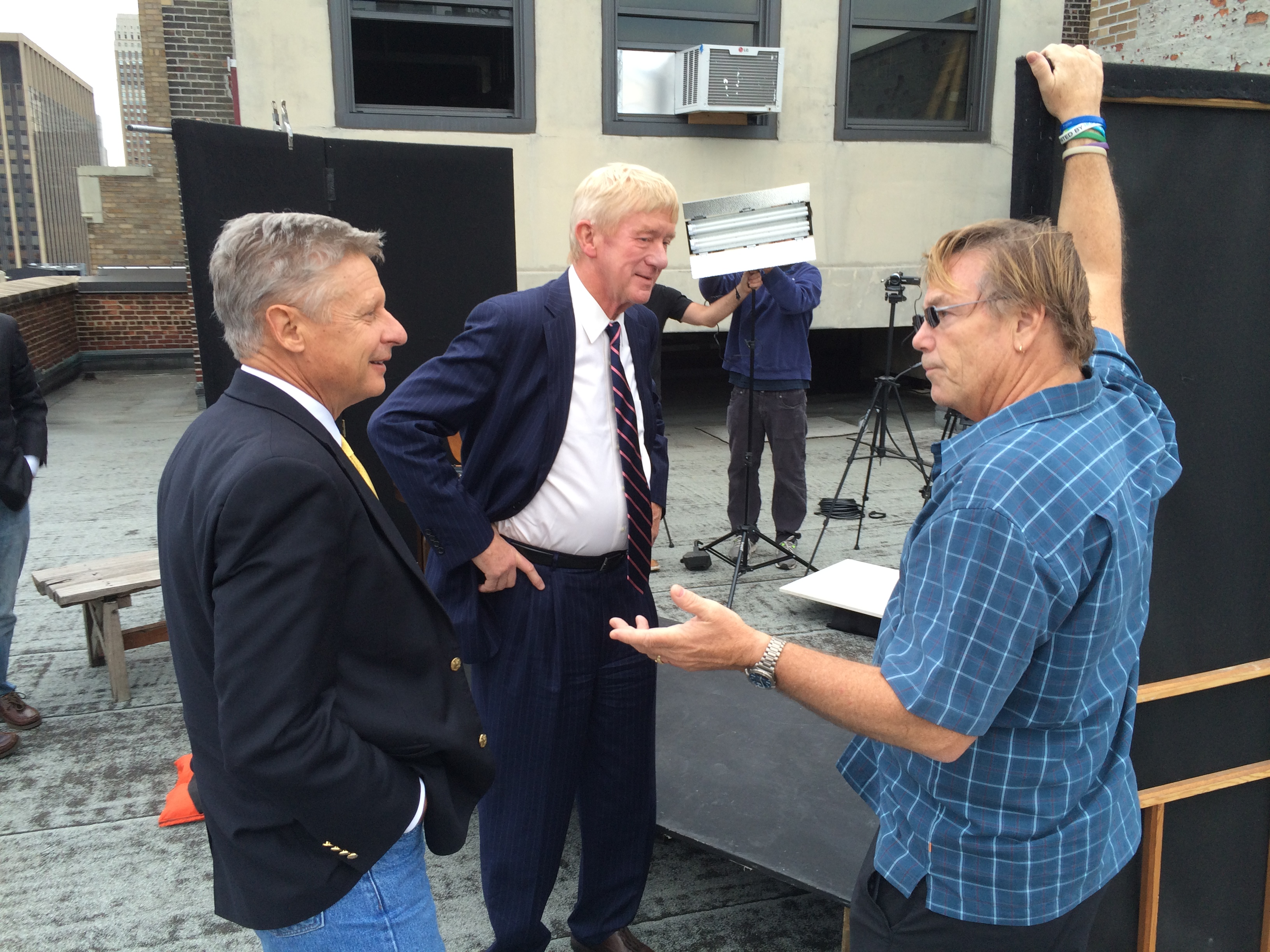 Gary Johnson and Bill Weld with a supporter on the night of the first presidential debate.     Matt Welch