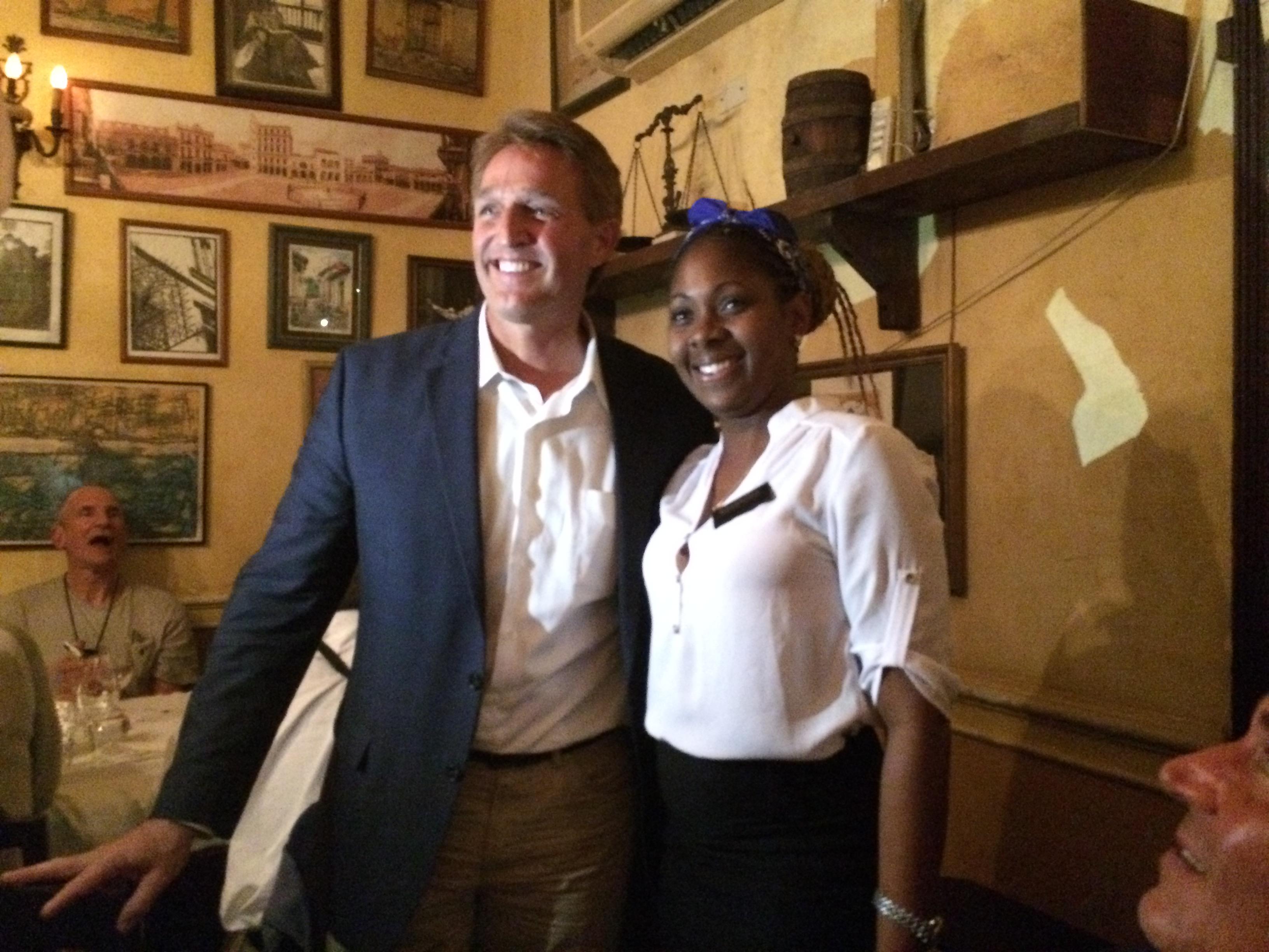 Jeff Flake and a Cuban, in Havana, one year ago. ||| Matt Welch