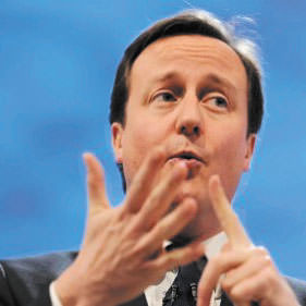 David Cameron counts all the pounds he plans to save.